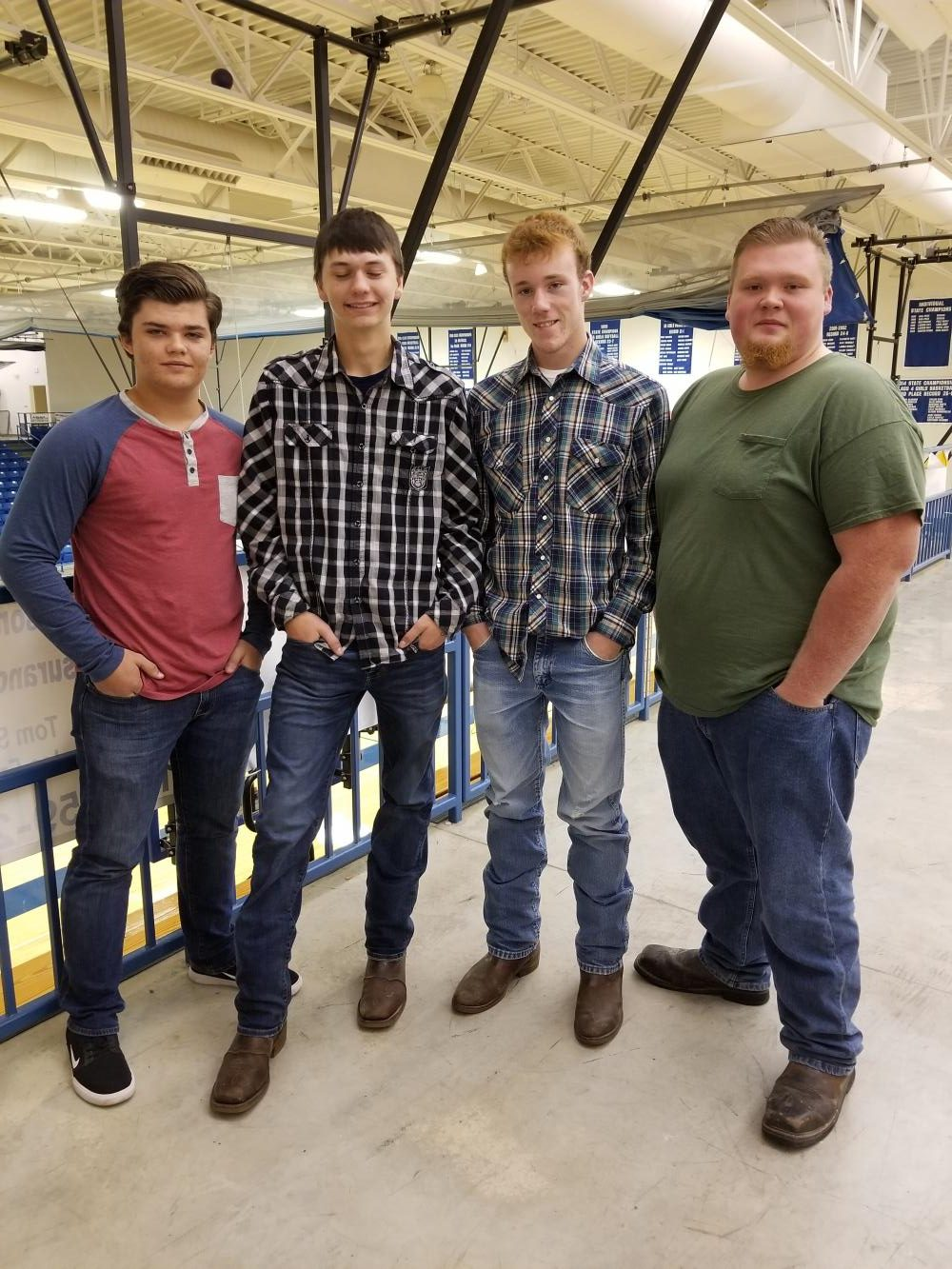 Marshfield High School students, (left to right) Ryan Mendes, Zach Dishman, Ira Cole Marlin, and Thomas Chaplin waited in line to retake their school picture.