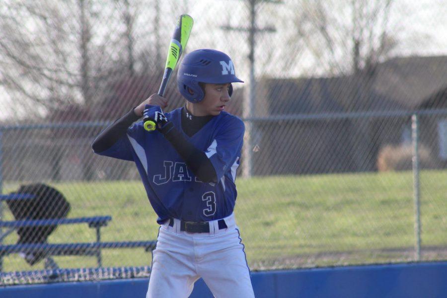 Joey Sheffer, freshman, gets ready to swing.