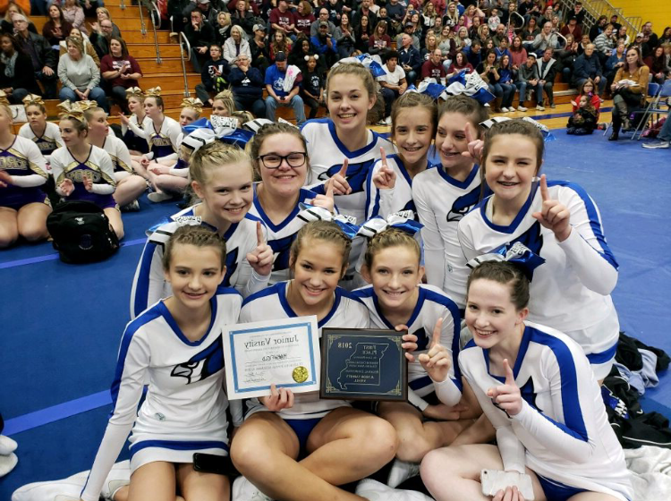 The JV cheer squad found out they got first place.