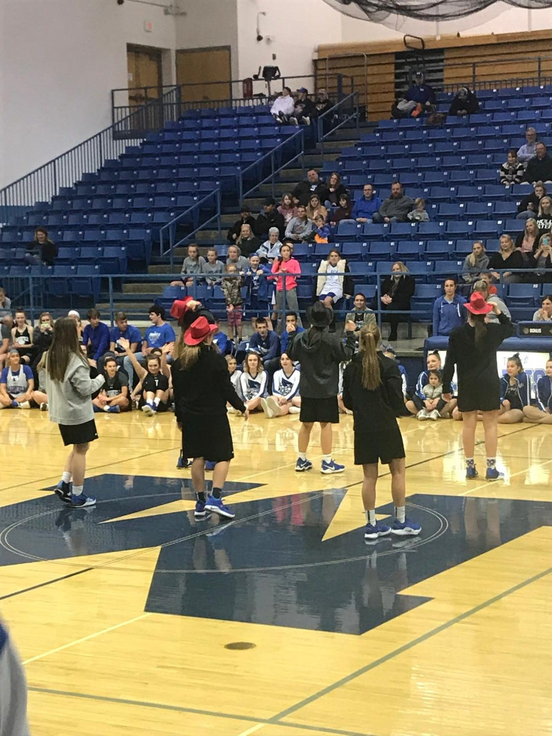 The girls basketball team shows off their best dance moves, in the dance off