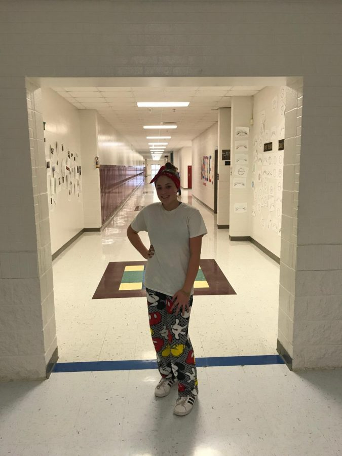 Freshman, Jennessa Dishman wears her pajamas to support Polar Express Day