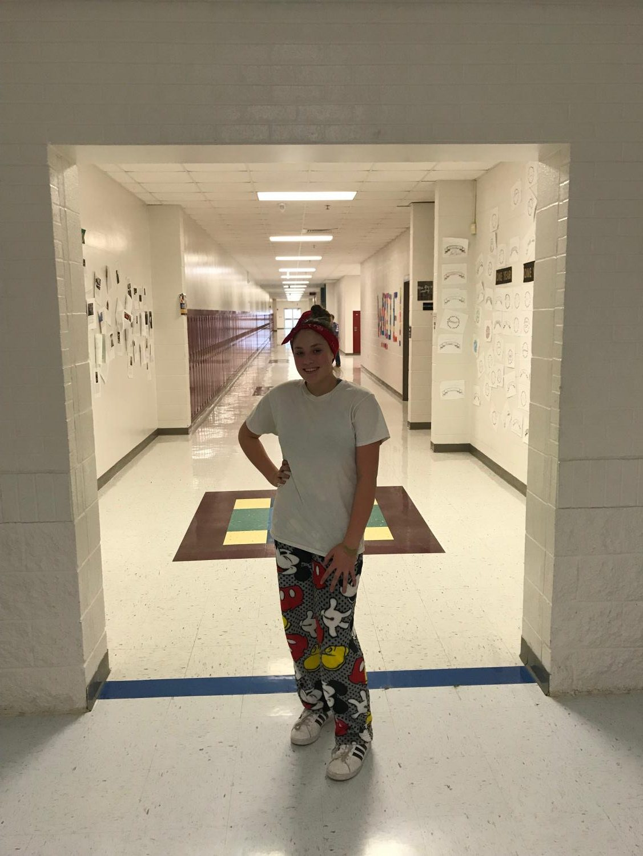 Freshman, Jennessa Dishman wears her pajamas to support Polar Express Day