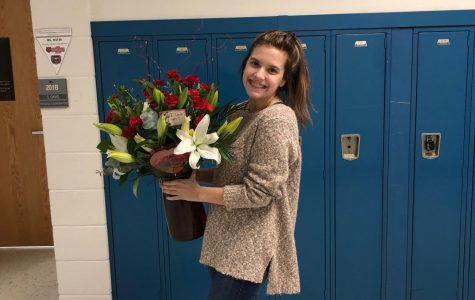Senior Ashleigh Matney with her Valentines Gift