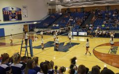 MHs volleyball players at Meet the Jays during a scrimmage.