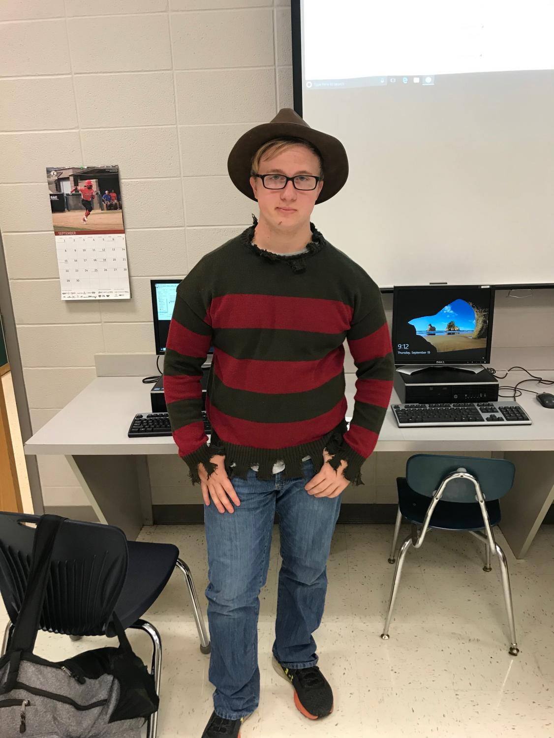 Sophomore Caleb Clemons dresses up as Freddy Kruger for 80's Movie Day.