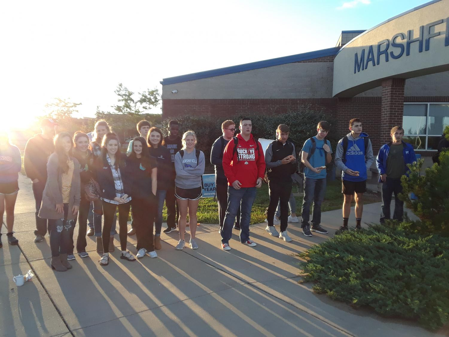 Students meet at the pole last school year for FCA.